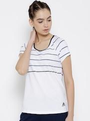 Adidas Women White Premium Striped Round Neck T-shirt