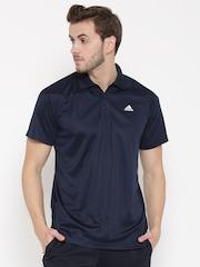 Adidas Men Navy Base Plain Polo Collar T-Shirt
