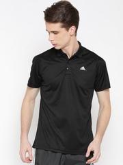 Adidas Men Black Base Plain Training Polo T-shirt