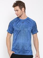 Adidas Men Blue Base 3S Printed Round Neck T-Shirt