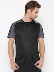 Adidas Men Black RS SS Self-Striped Round Neck Running T-shirt