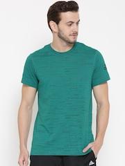 Adidas Men Teal Green AEROKNIT 2.0 Printed Round Neck T-shirt