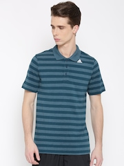 Adidas Men Teal Green Striped Training Polo T-shirt