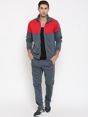 Adidas Red & Grey TS KN Colourblocked Training Tracksuit