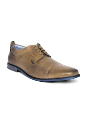 Buckaroo Men Brown Leather Perforated Derby Shoes