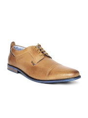 Buckaroo Men Tan Brown Leather Perforated Derby Shoes