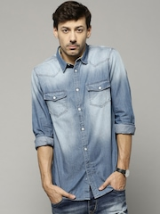 French Connection Men Blue Casual Denim Shirt
