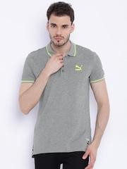 Puma Men Grey Melange Polo T-Shirt