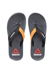 Reebok Men Black & Orange Adventure Flip-Flops