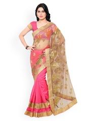 Colors Pink & Beige Embroidered Bhagalpuri Art Silk & Net Saree