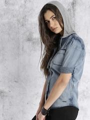 Roadster Women Blue Denim Hooded Faded Casual Shirt