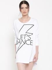 Silvian Heach Women White Printed T-shirt Dress