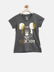 Mickey Girls Charcoal Grey Printed Round Neck T-shirt