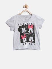 Mickey Girls Grey Melange Printed Round Neck T-shirt