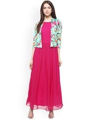 Athena Women Pink Solid Maxi Dress
