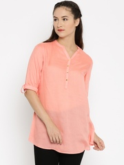 Melange by Lifestyle Peach-Coloured Solid Kurti