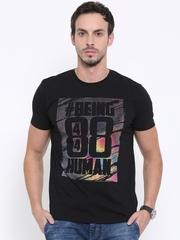 Being Human Men Black Printed Round Neck T-Shirt