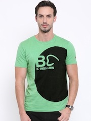 Being Human Men Green Colour Blocked Round Neck T-Shirt