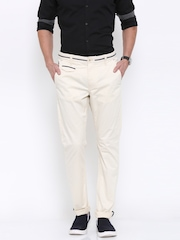 Being Human Clothing Men Beige Solid Regular Fit Chinos