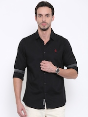 Being Human Clothing Men Black Slim Fit Solid Casual Shirt