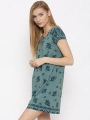 Vero Moda Women Green Printed Shift Dress