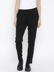 Vero Moda Women Black Solid Pleated Trousers