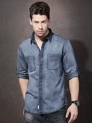 Roadster Men Blue Denim Faded Casual Shirt