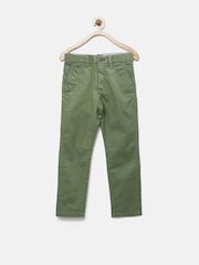 Indian Terrain Boys Green Solid Regular Fit Chinos