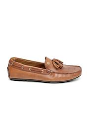 Tommy Hilfiger Men Brown Solid Leather Tassel Loafers