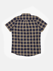 Indian Terrain Boys Navy & Khaki Regular Fit Checked Casual Shirt