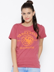 Game Of Thrones Women Pink Printed Round Neck T-shirt