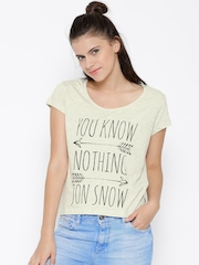 Game Of Thrones Women Off-White Printed Round Neck T-shirt