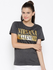 Nirvana Women Charcoal Grey Printed Round Neck T-shirt