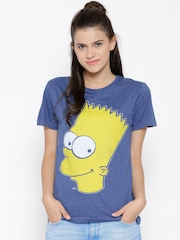 Simpsons Women Blue Printed Round Neck T-shirt