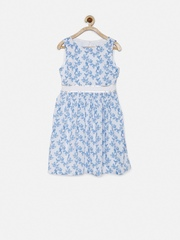 Allen Solly Junior Girls White Printed Fit & Flare Dress