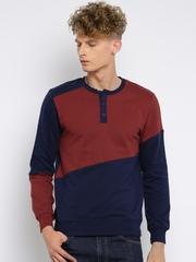 Moda Rapido Men Red & Navy Colourblocked Pullover Sweatshirt