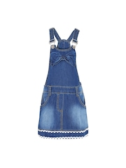 naughty ninos Girls Blue Solid Dungaree Dress
