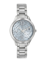 Titan Women Metallic Blue Embellished Dial Watch 95027SM01J
