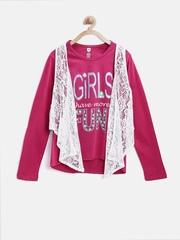 612 League Girls Pink & White Clothing Set