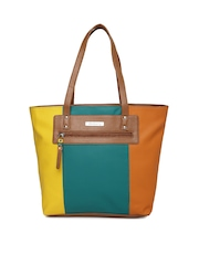 DressBerry Teal Blue & Yellow Colourblocked Shoulder Bag