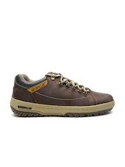 CAT Men Brown Solid Leather Sneakers