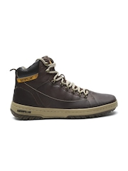 CAT Men Brown Solid Mid-Top Flat Boots