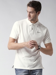 CAT Men White Classic Solid Polo Collar T-shirt