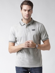 CAT Men Grey Melange Horse Power Solid Polo Collar T-shirt