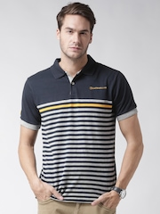 CAT Men Navy Murphy Striped Polo T-shirt