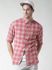 CAT Men Red & Beige Bradley Original Fit Checked Casual Shirt