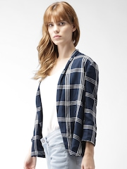 Mast & Harbour Navy & White Checked Open-Front Light Weight Casual Blazer