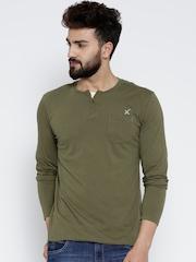 HRX by Hrithik Roshan Men Olive Green Solid Henley Neck T-shirt