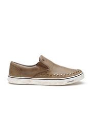 DIESEL Men Brown Studded Leather Slip-On Sneakers