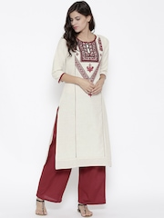 TRISHAA BY PANTALOONS Off-White & Maroon Embroidered Kurta with Palazzo Trousers